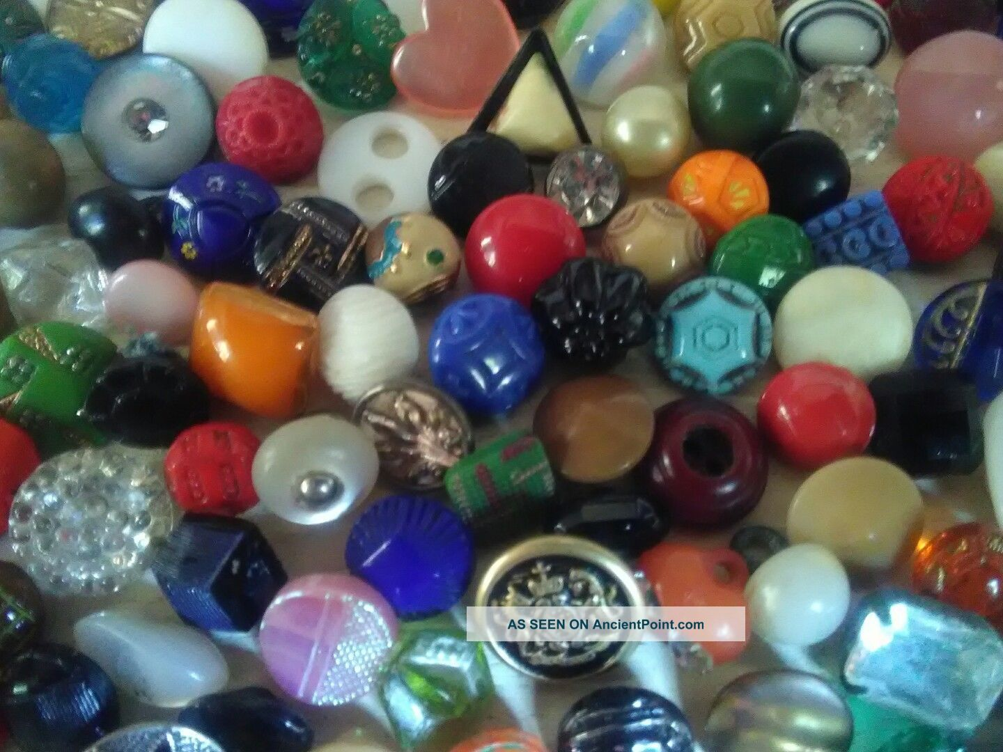 130,  Diminutive & Sm Antique Vintage All Kinds Buttons Mostly Glass Buttons photo