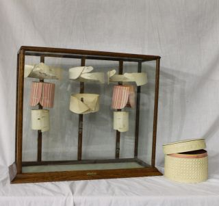 Antique Oak Showcase Vintage Collar Country Store Display Case photo