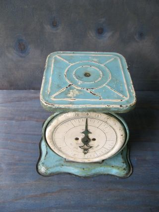Antique Scale Pelouze Kitchen Family,  Old Orig Blue Paint,  24 Lbs,  Chicago,  Il photo