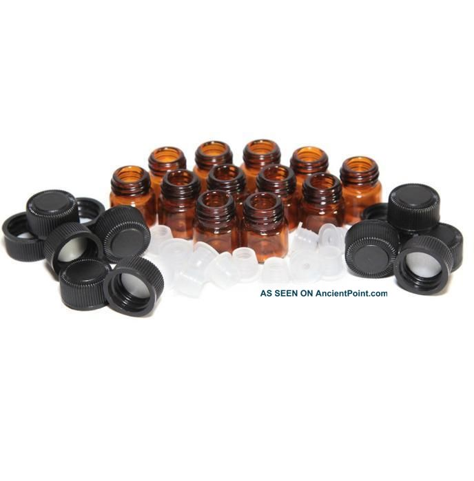 12pc 1 Ml Bottle Amber Essential Oil Bottle With Orifice Reducer And Cap Bottles & Jars photo