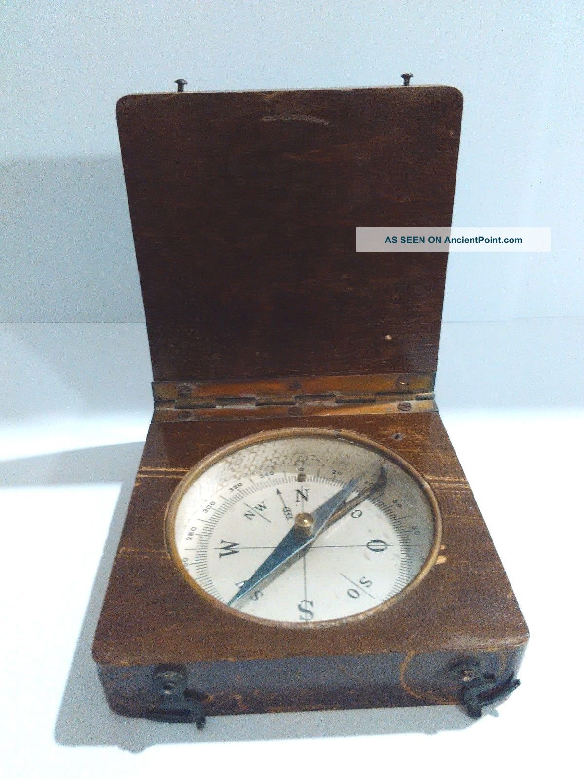 Old Antique Brass Military Wood Cased Handheld Pocket Compass 1800 ' S Other Antique Science Equip photo