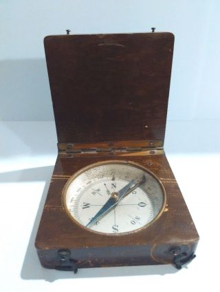 Old Antique Brass Military Wood Cased Handheld Pocket Compass 1800 ' S photo