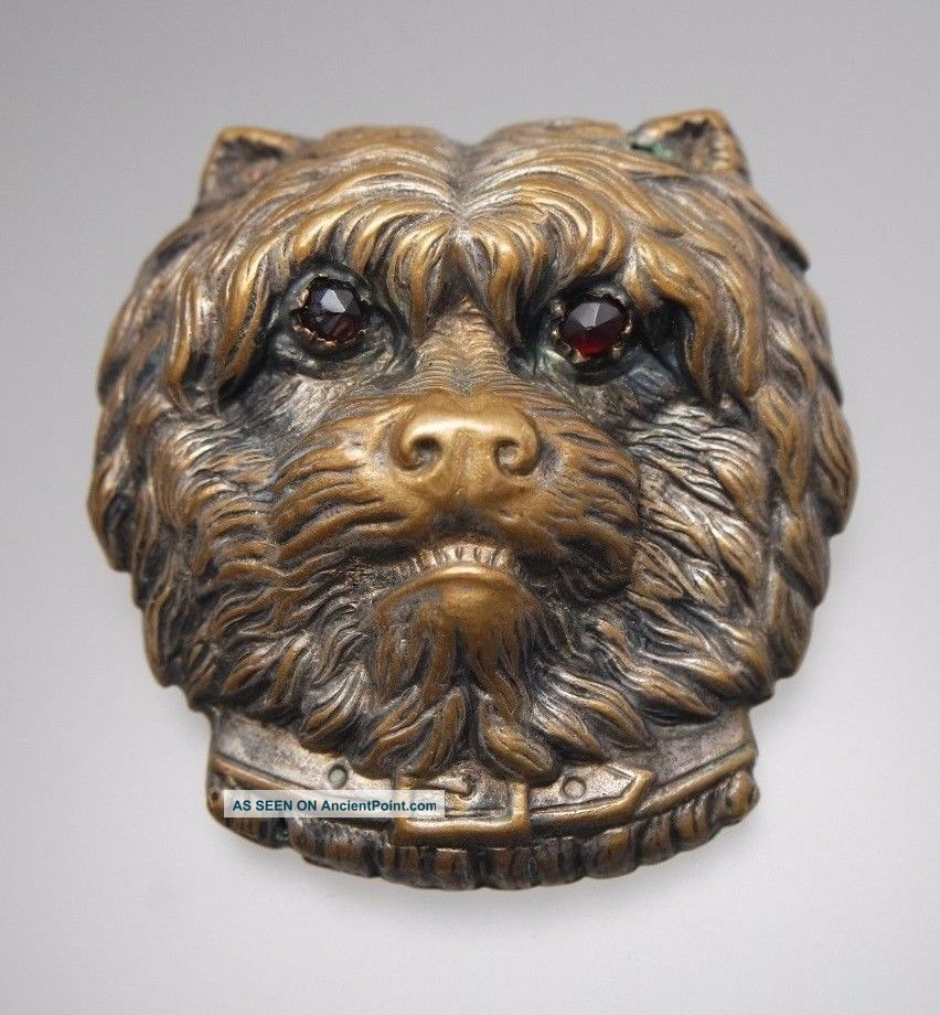 Large Antique Victorian Dog Head Button Garnet Eyes Buttons photo
