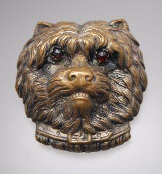 Large Antique Victorian Dog Head Button Garnet Eyes photo