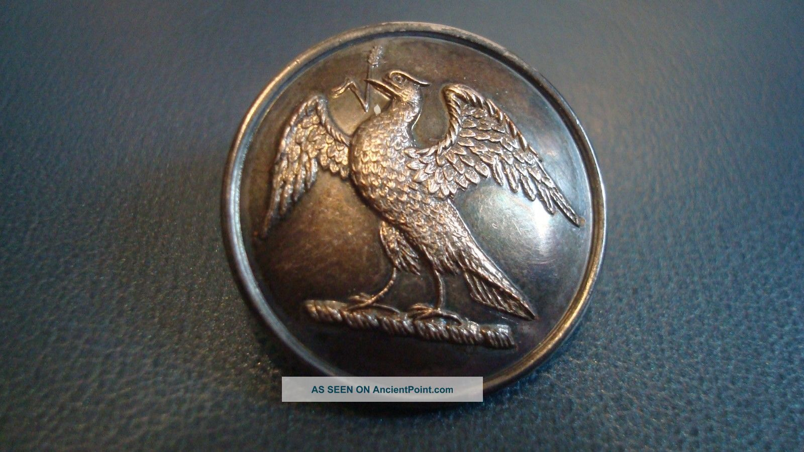 Antque Livery Bird With Outstretched Wings Single Shank Button.  London. Buttons photo