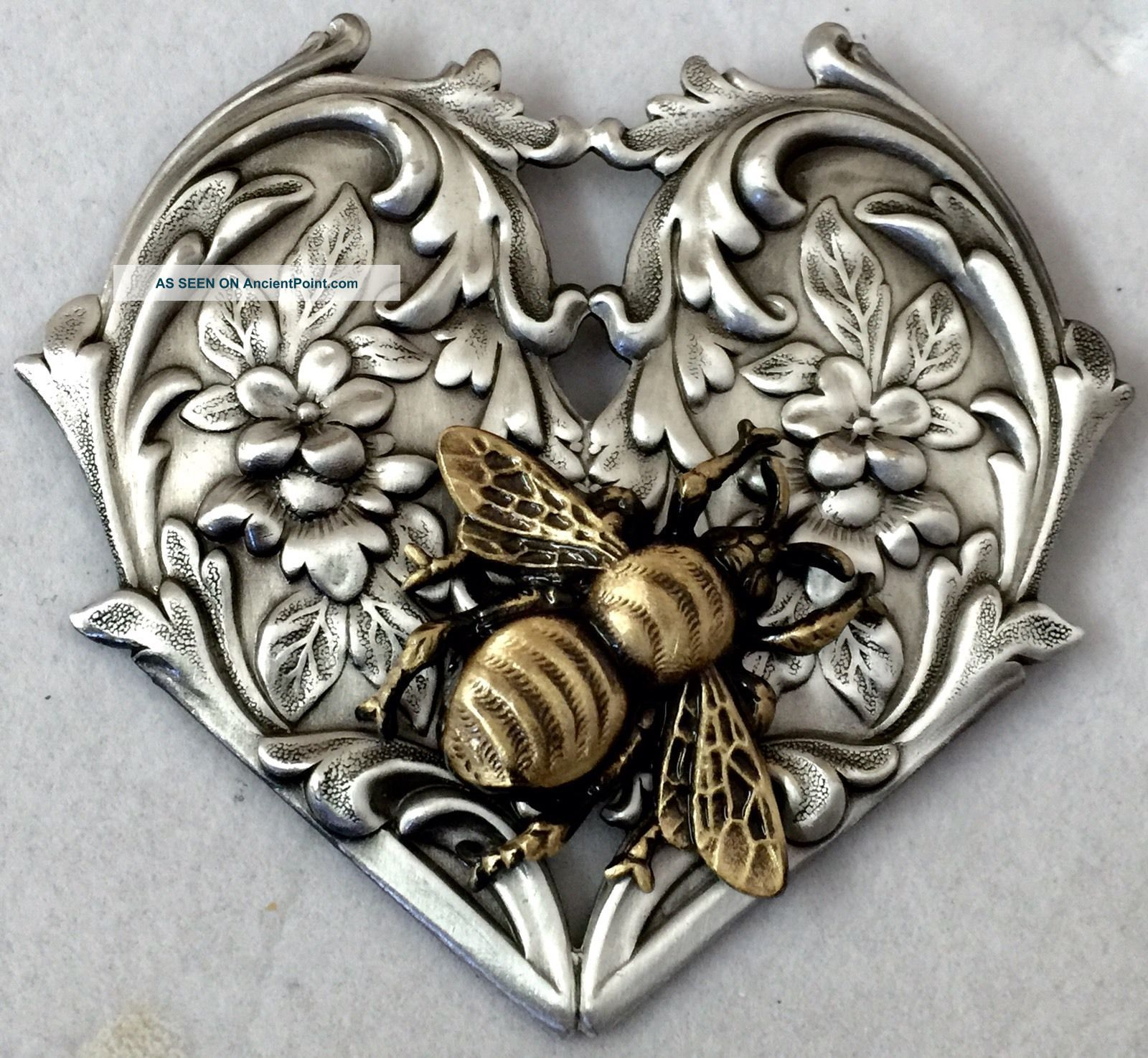 Bee On Flowing Art Nouveau Picture Button Sterling Overlay On Brass 2 1/2
