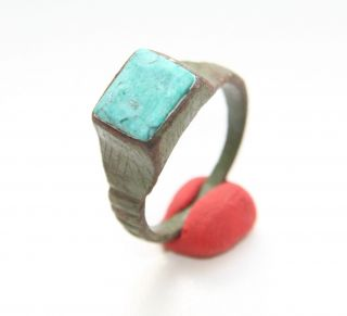 Ancient Medieval Bronze Finger Ring With Turquoise Inlay (fbb01) photo