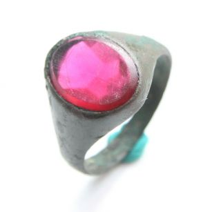 Antique Post Medieval Bronze Finger Ring With Red Inlay (may) photo