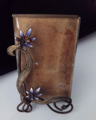 Antique Art Nouveau Photo Frame Enameled Lavender Flowers Ca.  1890 photo