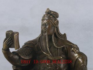 Chinese Bronze Handwork Carved Guangong Statue W Qing Dynasty Mark Ht063 photo