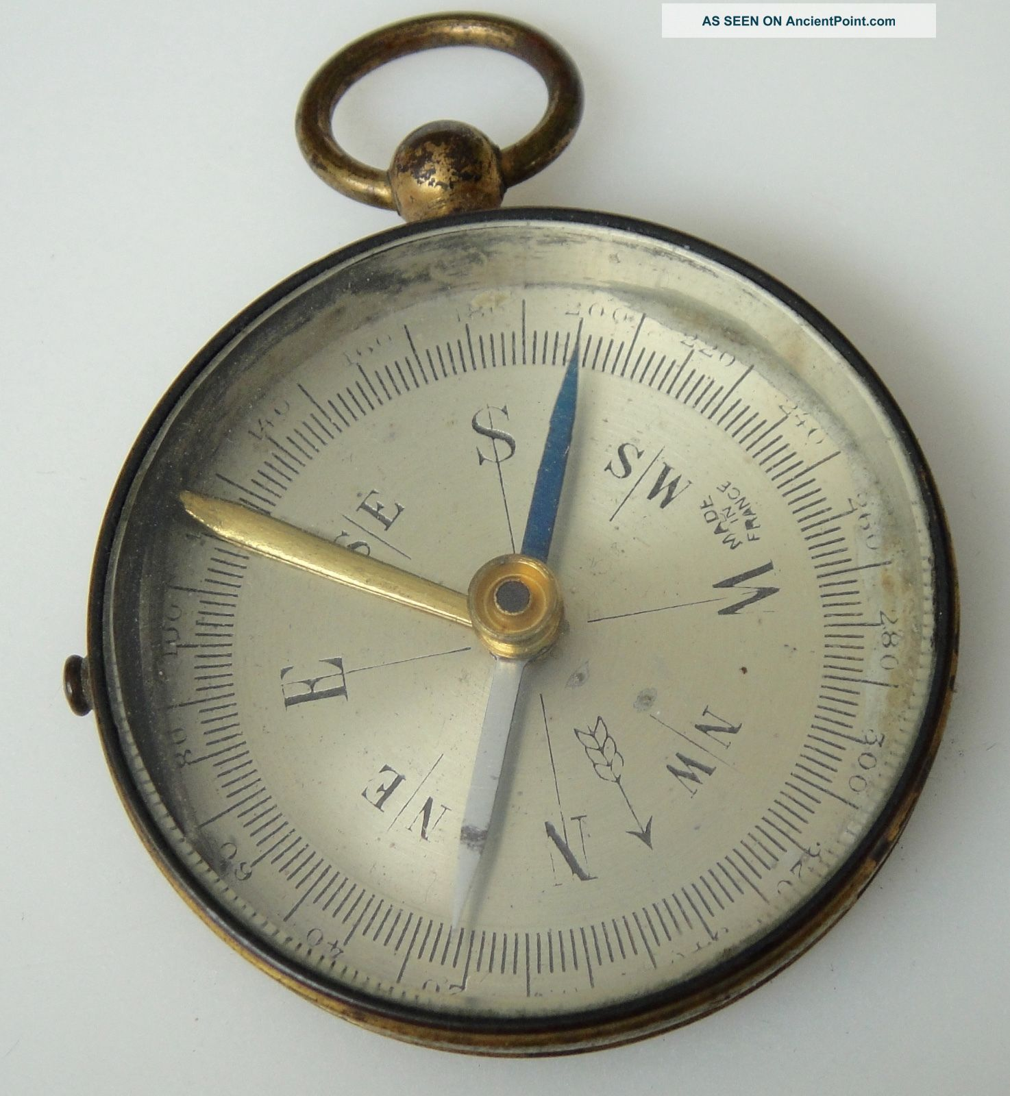 Small Vintage/antique Brass Pocket Compass - Made In France Compasses photo