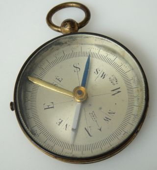 Small Vintage/antique Brass Pocket Compass - Made In France photo