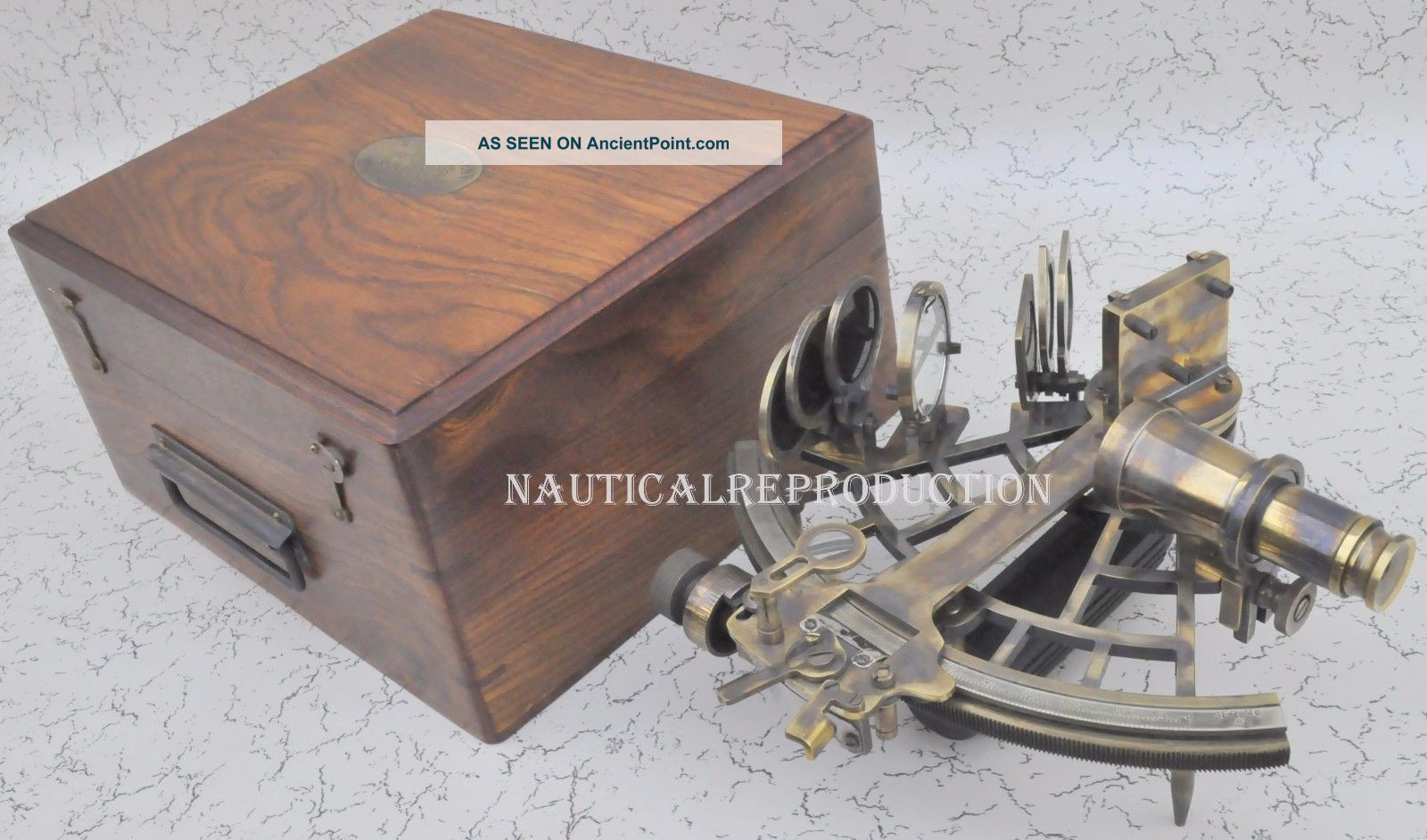 100 Nautical Reproduction Micrometer Drum Readout Brass Sextant Sextants photo