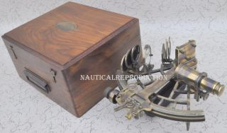 100 Nautical Reproduction Micrometer Drum Readout Brass Sextant photo