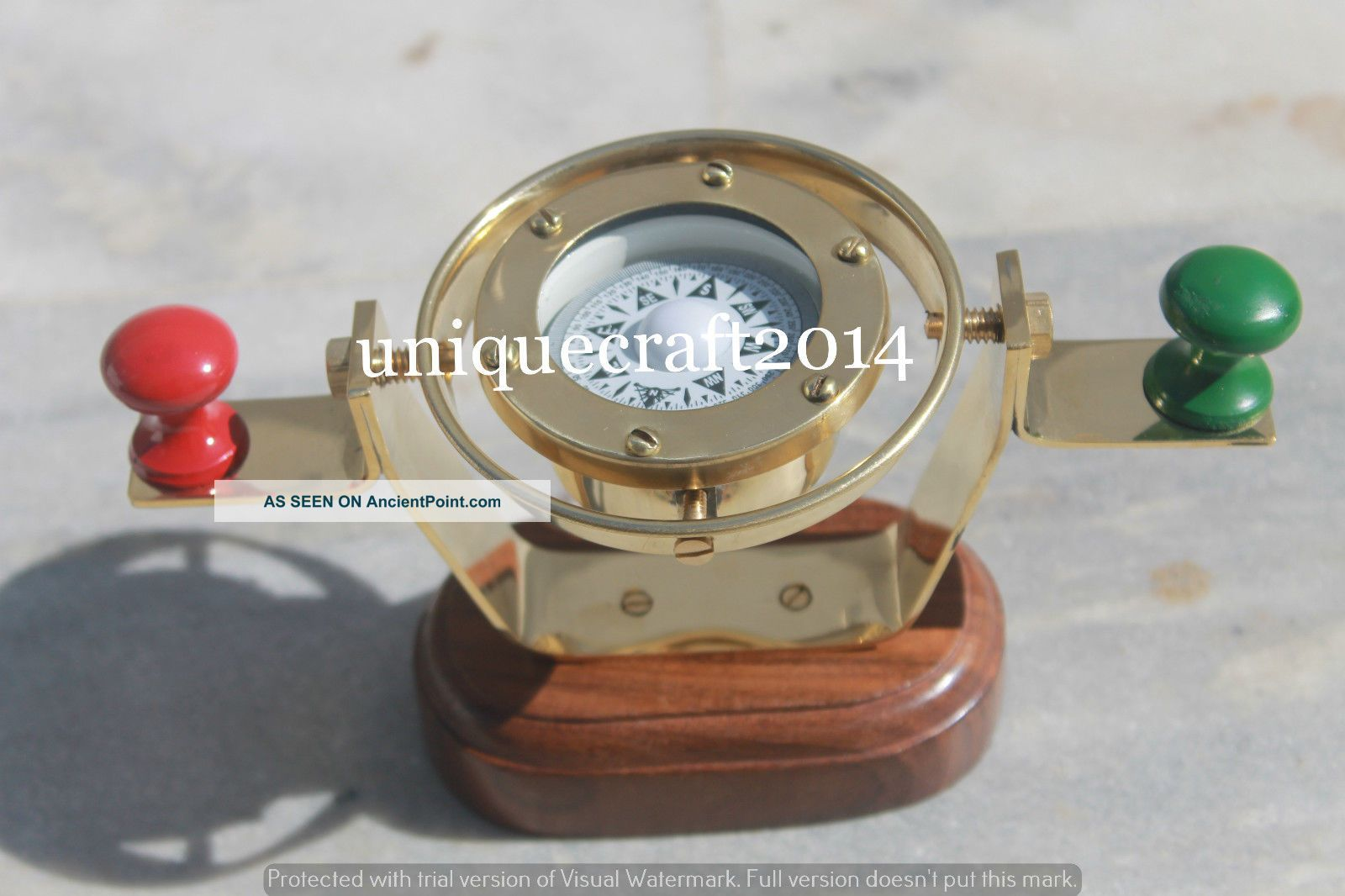 Antique Solid Brass Hanging Compass 2.  5