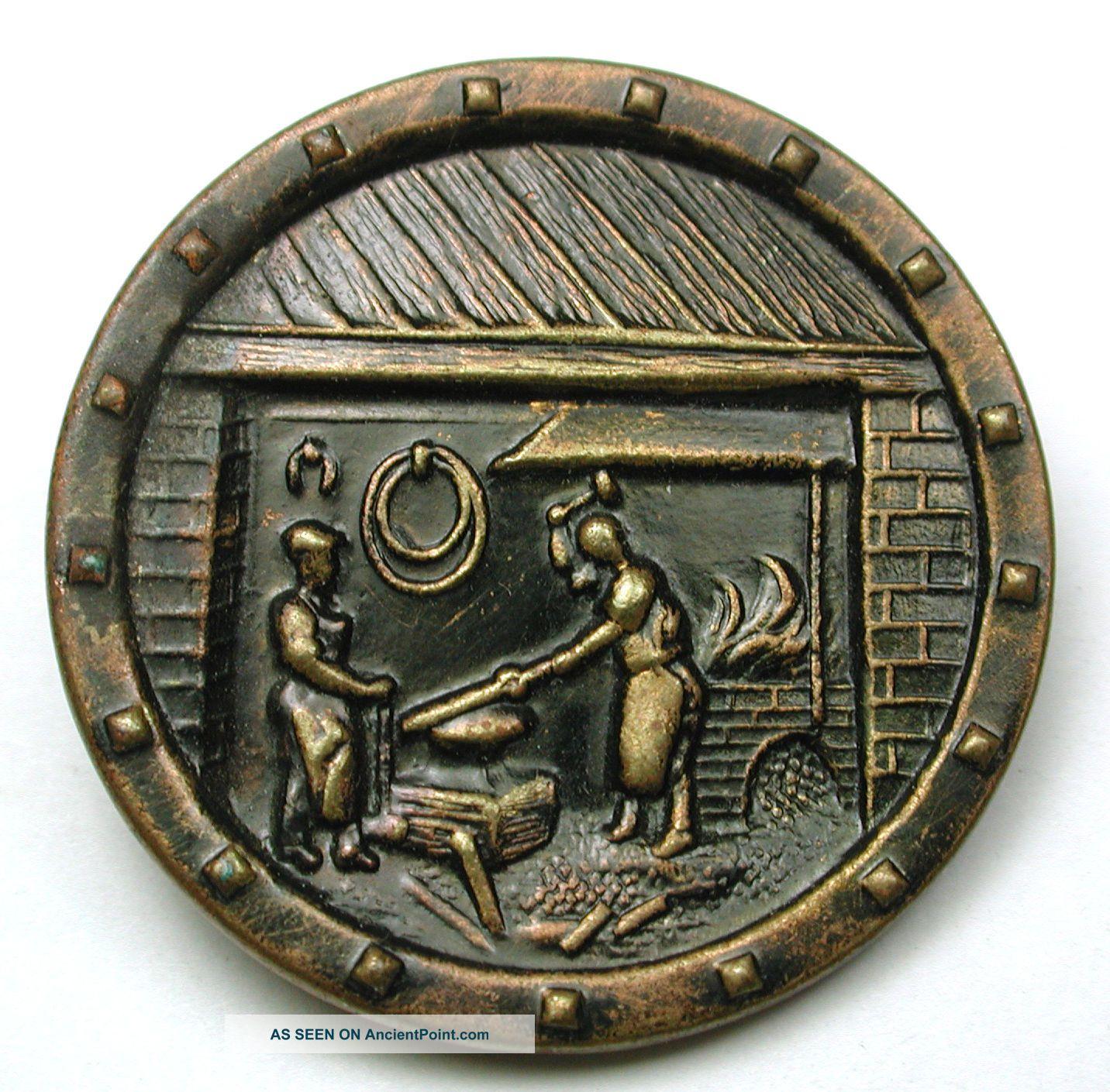 Antique Brass Button Black Smith At Work Pictorial Design - 1 & 3/16