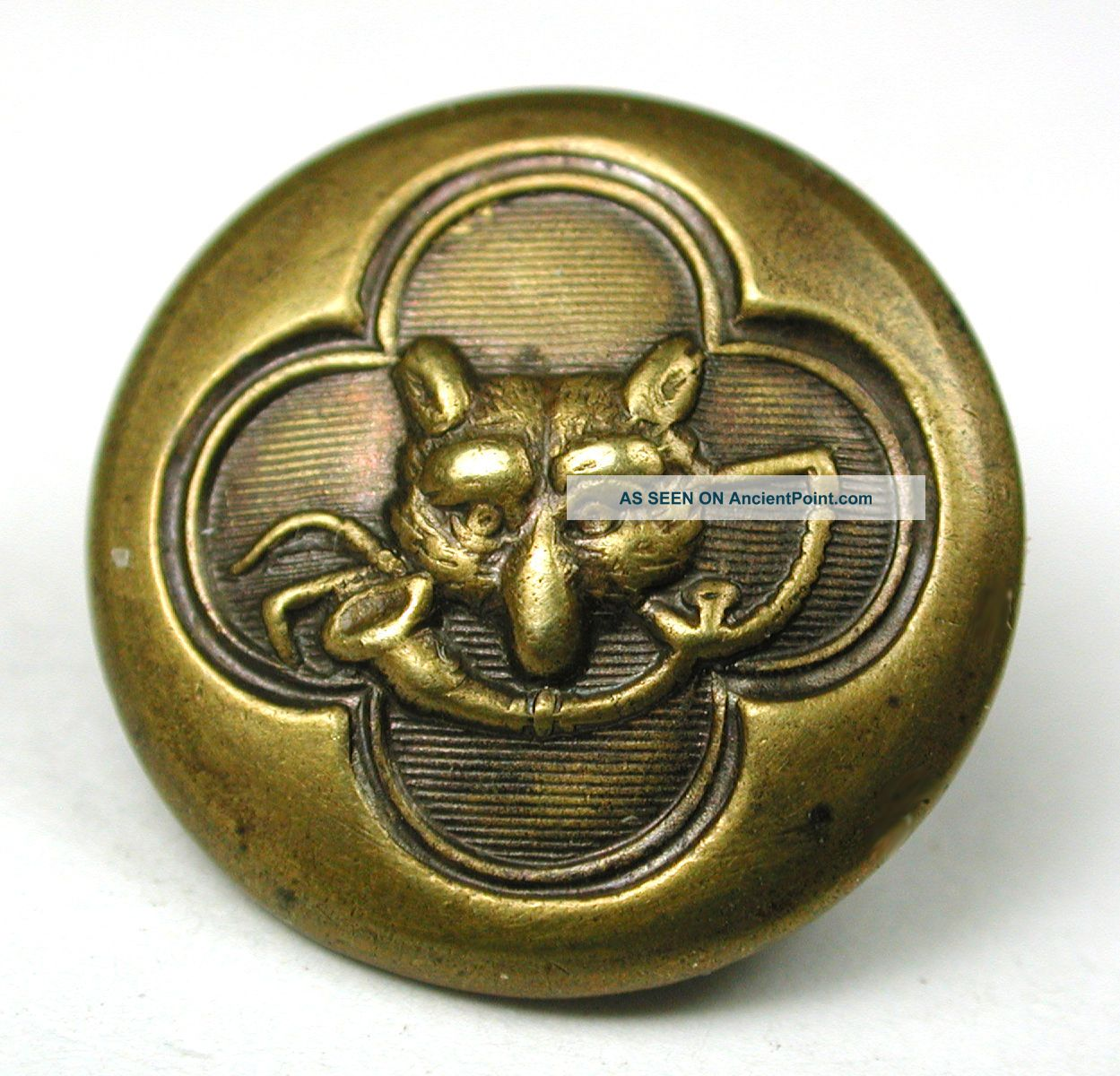Antique Brass Sporting Button Fox Head Design - 5/8