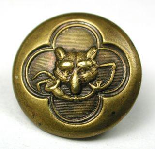 Antique Brass Sporting Button Fox Head Design - 5/8