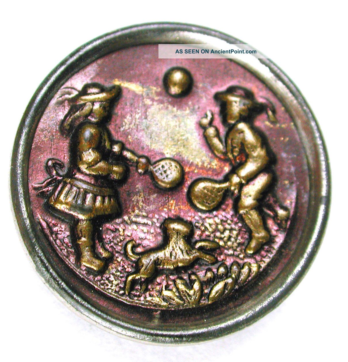 Antique Brass Button 2 Young Children & Dog Playing Scene - 11/16