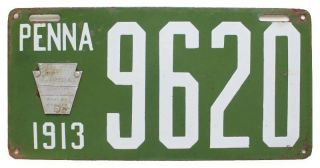 Pennsylvania 1913 Porcelain License Plate,  9620,  All,  Shorty,  Wall Sign photo