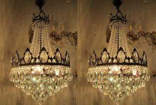 Antique French Large Real Swarovski Crystal Chandelier 1940 ' S 16 In Ø photo