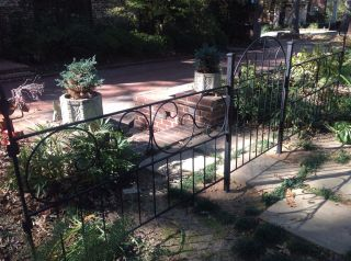 Vintage Restored Decorative Wrought Iron Garden Fence 44 Ft W/8 Panels And Gate photo