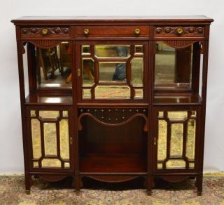 Antique Walnut Carved Mirrored Etagere Display Cabinet Tall Tv Stand Buffet photo