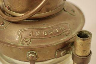 Vintage Ships Brass/ Glass Anchor Hanging Lantern Lamp Light - 8.  5