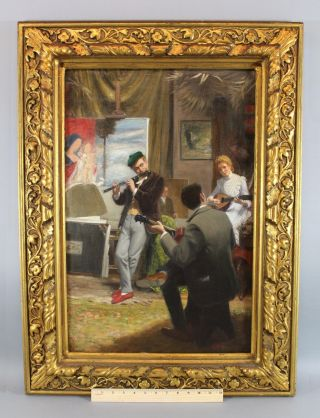 Antique Carl Welz German Genre Oil Painting,  Musicians Artist Studio Mandolin photo