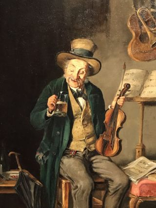 Fine European 19th Century Oil Violin Player Enjoying A Rest & Drink - Signed photo