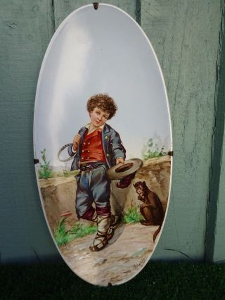 19thc Hand Decorated Signed Oval Plate With Boy Figure Begging C1880s photo