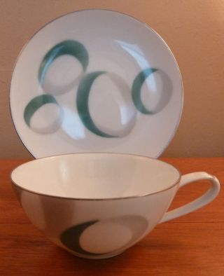 2 Noritake Mid - Century Abstract Gray And Green Circlular Bands Cups And Saucers photo