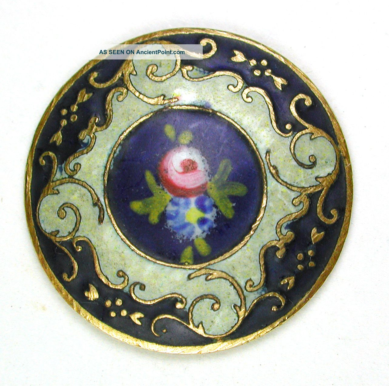 Antique French Enamel Button Hand Painted Rose W/ Cobalt & Cream Colors 7/8