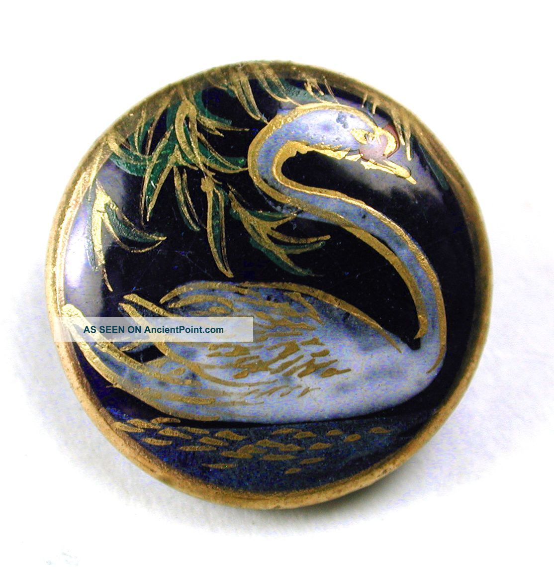 Vintage Satsuma Button Swimming Swan On Cobalt W/ Gold Accents - 5/8