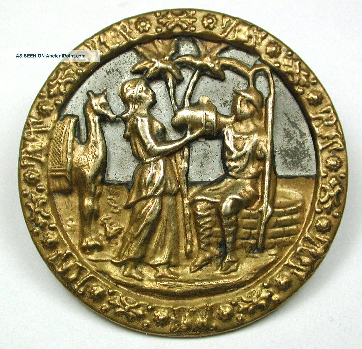 Scarce Lg Antique Brass Button Rebecca & Eliezer At The Well - 1 & 1/2