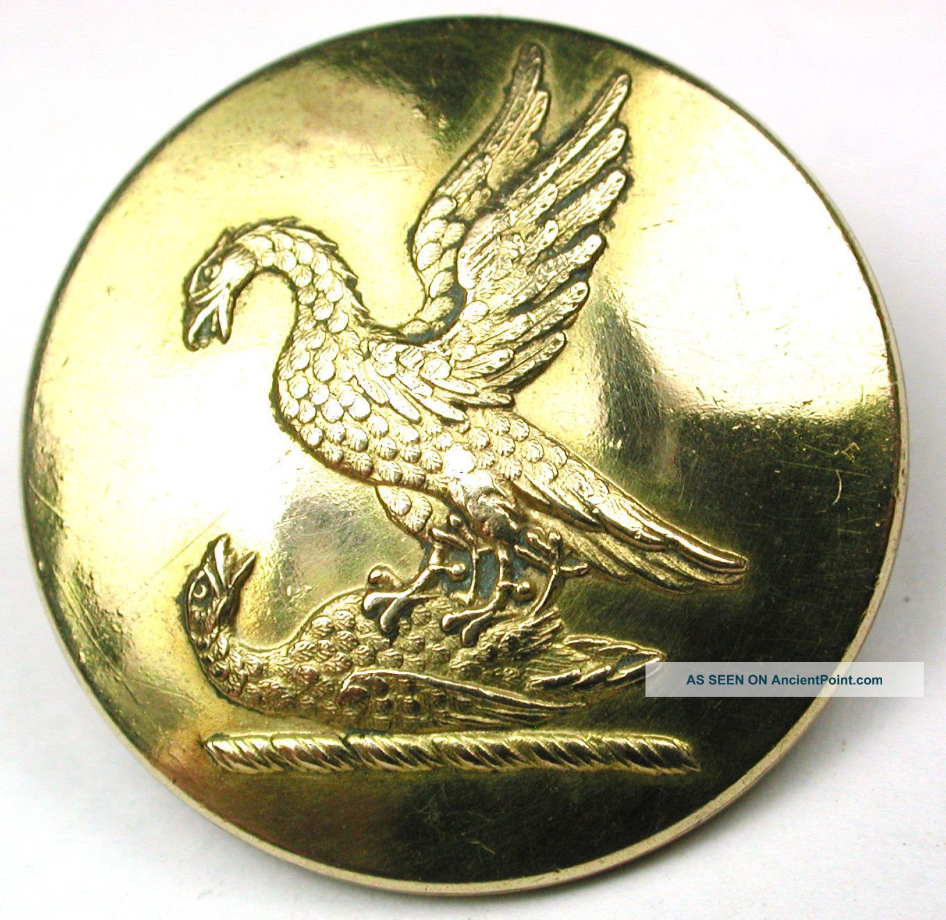 Antique Brass Livery Button - 1 Eagle Attacks Another - Armfield - 1 Buttons photo