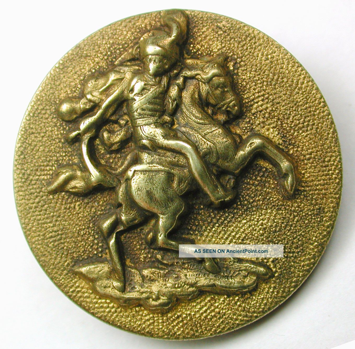 Antique Brass Equestrian Button Rider On Rearing Horse - Paris Back - 1 & 1/16 Buttons photo