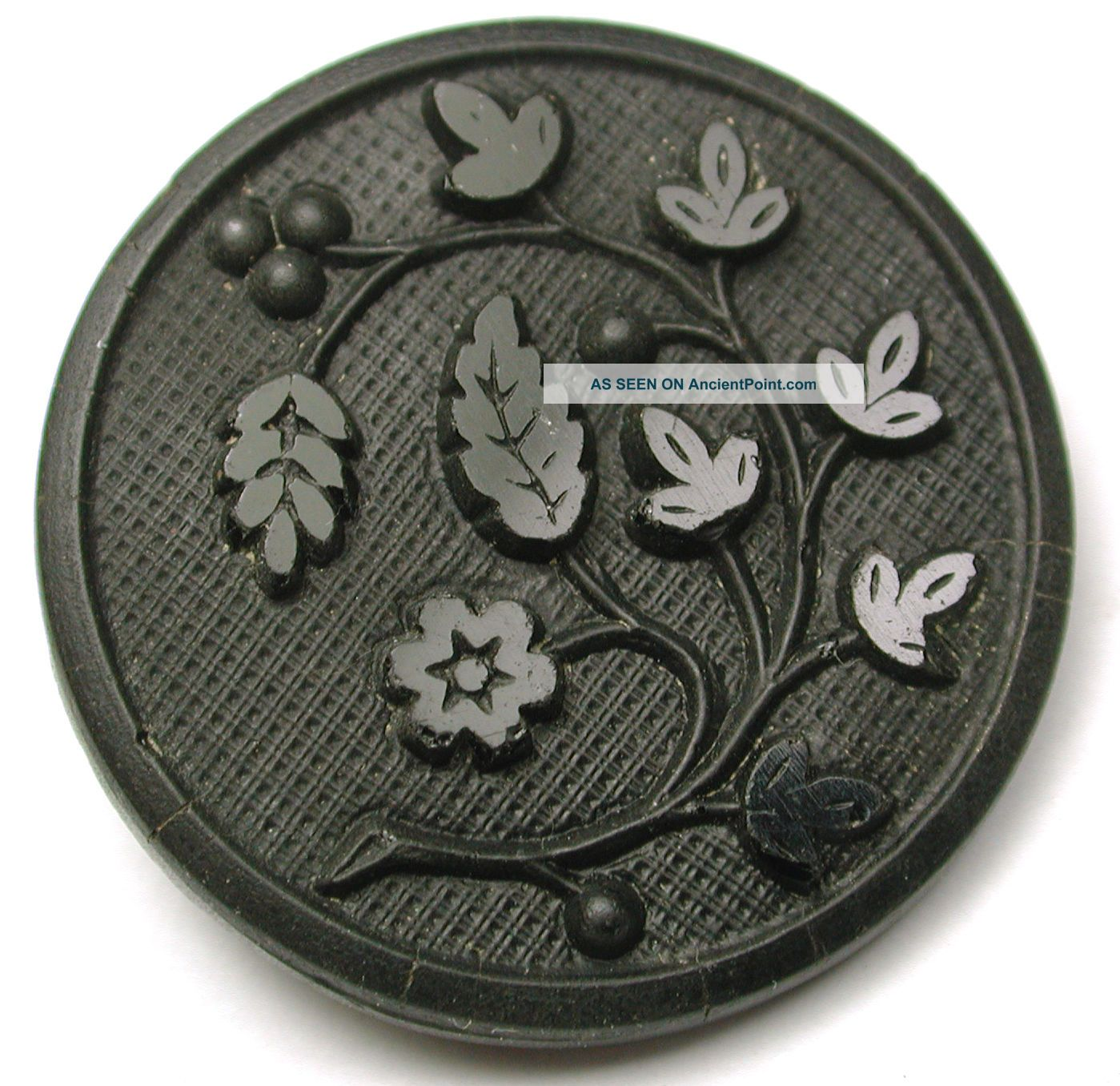 Antique Black Glass Button Detailed Berries & Leaves Matte & Glossy 1 & 3/16