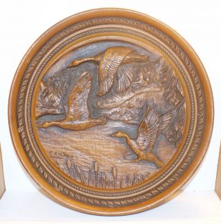 Vintage Hand Carved Oak Plaque / Canada Flying Geese / Man Cave / Hunters Cabin photo