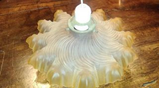 Vintage Light Fitting.  Quality Yellow Shade,  Brass Carrier & Porcelain Bulb Hold photo