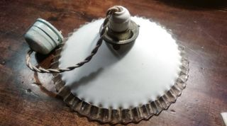 Vintage Light Fitting.  Shade,  Ceiling Rose And Bulb Holder. photo