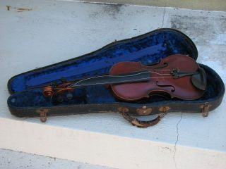 Vintage Antique Andreas Morelli Hand Made Violin Reproduction W/case & Bow photo