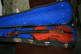 Old Antique Vintage Violin With Case Labelled Antonio Lechi 1922 photo