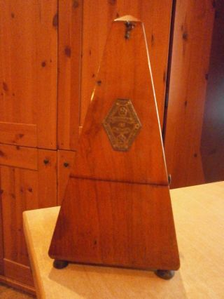 Antique Metronome De Maelzel.  Paquet Metronomes (france).  Walnut Cased photo