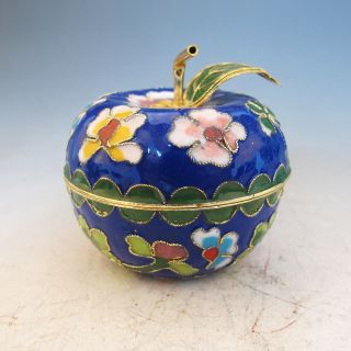 Chinese Exquisite Cloisonne Painted Apple Shape Pot photo