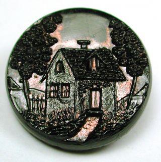 Med Sz Antique Black Glass Button Cottage Scene W/ Copper Luster 7/8