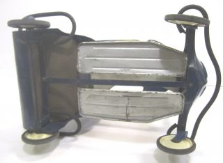 Vintage Taylor Tot Metal Baby Stroller Walker Blue White 1940s - 50s photo