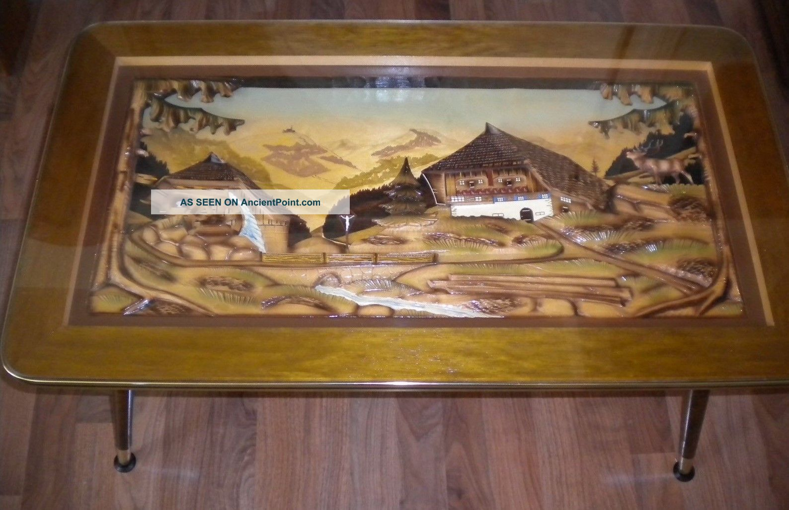 Mid Century Wooden Coffee Table 3d Black Forest Germany Carved C.  1960s German Post-1950 photo