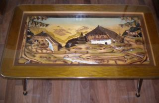 Mid Century Wooden Coffee Table 3d Black Forest Germany Carved C.  1960s German photo