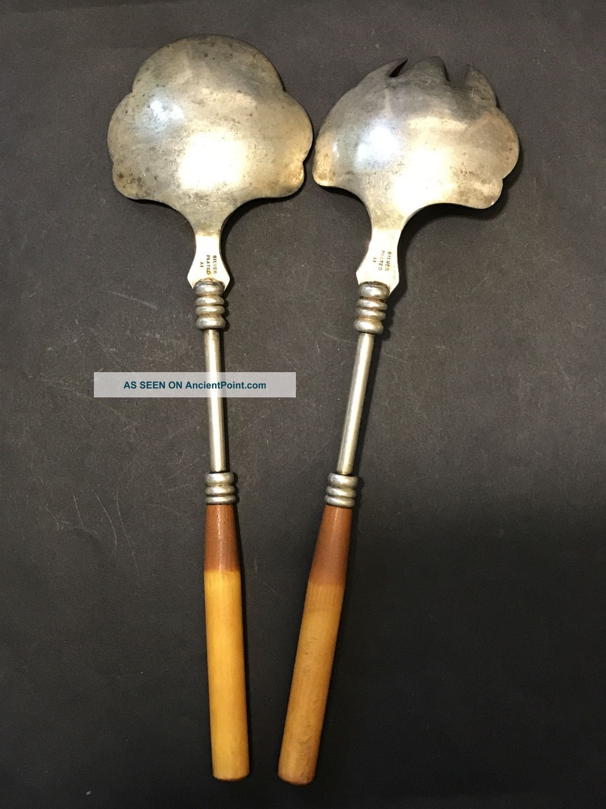 Vintage Art Deco Silver Plated Salad Servers With Two Toned Bakelite Handles Silverplate photo